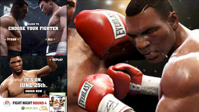 Tyson and Ali go heads up in this Flash Rich Media banner storyboard for EA Fight Night Round 4