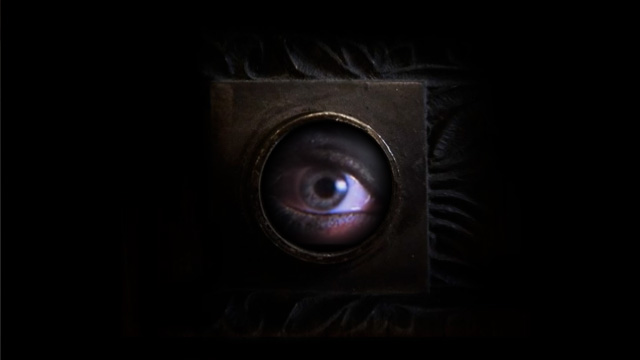 A sexy woman's eye peers through a dark, mysterious door's peephole