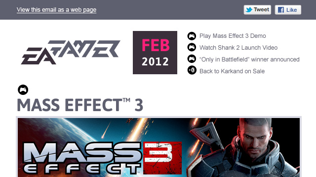Screenshot of an email newsletter design for EA GAMER